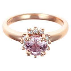 floral 0.59ct morganite and 0.20ct diamond 9ct rose gold engagement ring