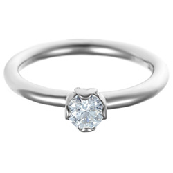delicate palladium floral inspired diamond solitaire engagement ring