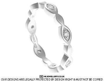 unique fairtrade white gold marquise style diamond eternity ring