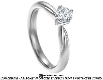 Elegant And Unique Palladium Diamond Solitaire Engagement Ring