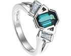 teal tourmaline and diamond art deco style platinum engagement ring