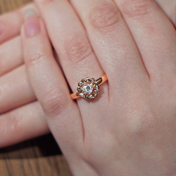 9ct Rose Gold And White Gold Vintage Inspired Engagement Ring