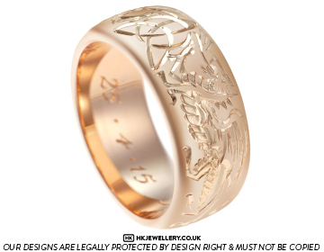 Mortens unusual dragon and lion engraved wedding ring