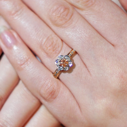 stunning 9ct rose and white gold, peach lab-grown diamond cluster