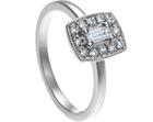 art deco style 0.22ct diamond and palladium cluster engagement ring