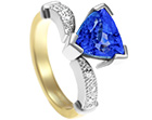 yvonne and gavin's tanzanite wishbone engagement ring