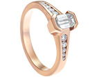 art deco inspired 0.79ct diamond and fairtrade 9ct rose gold engagement ring