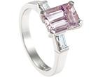emerald cut 3.52ct morganite, 0.25ct diamond and platinum engagement ring