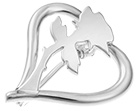 unique handcrafted sterling silver rose and heart brooch