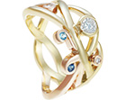 juliet's handmade free-flowing 0.3ct diamond and topaz freedom ring