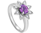 floral inspired sapphire dress ring