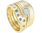 sharon's 18ct yellow gold and aquamarine eternity ring