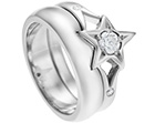 louise's palladium ring with star cut detail