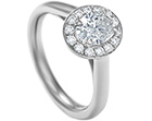 platinum and 0.97ct diamond cluster engagement ring