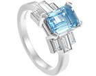 art deco inspired 1.45ct aquamarine and 0.50ct diamond engagement ring