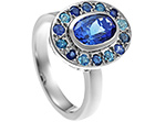 under the sea inspired platinum engagement ring with 1.85ct oval cut tanzanite