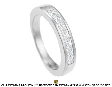 palladium eternity ring with princess cut diamonds
