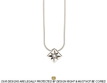 9 carat white gold pendant with a star set g-h si2-3 diamond