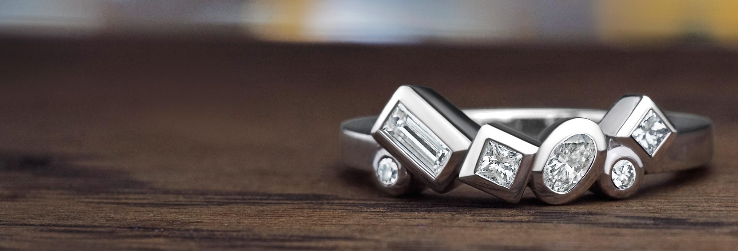 Contemporary 0.30ct multi-cut diamond palladium eternity ring
