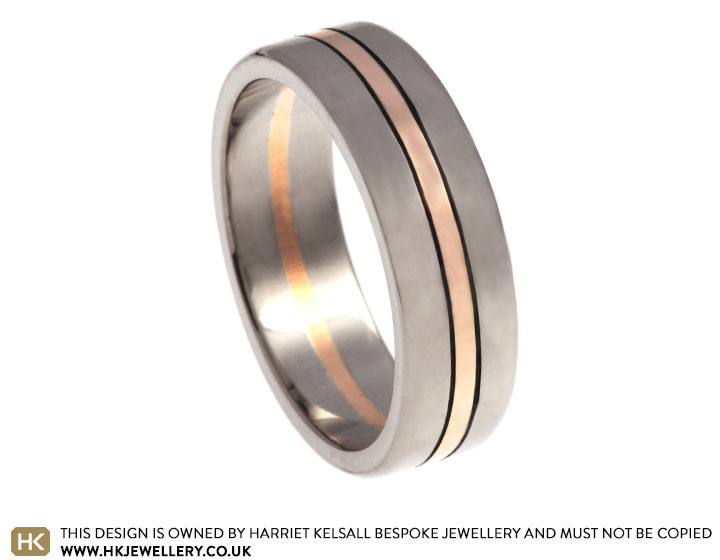 Mixed Metal 7mm Flat Profile Wedding Ring With Engraved Lines