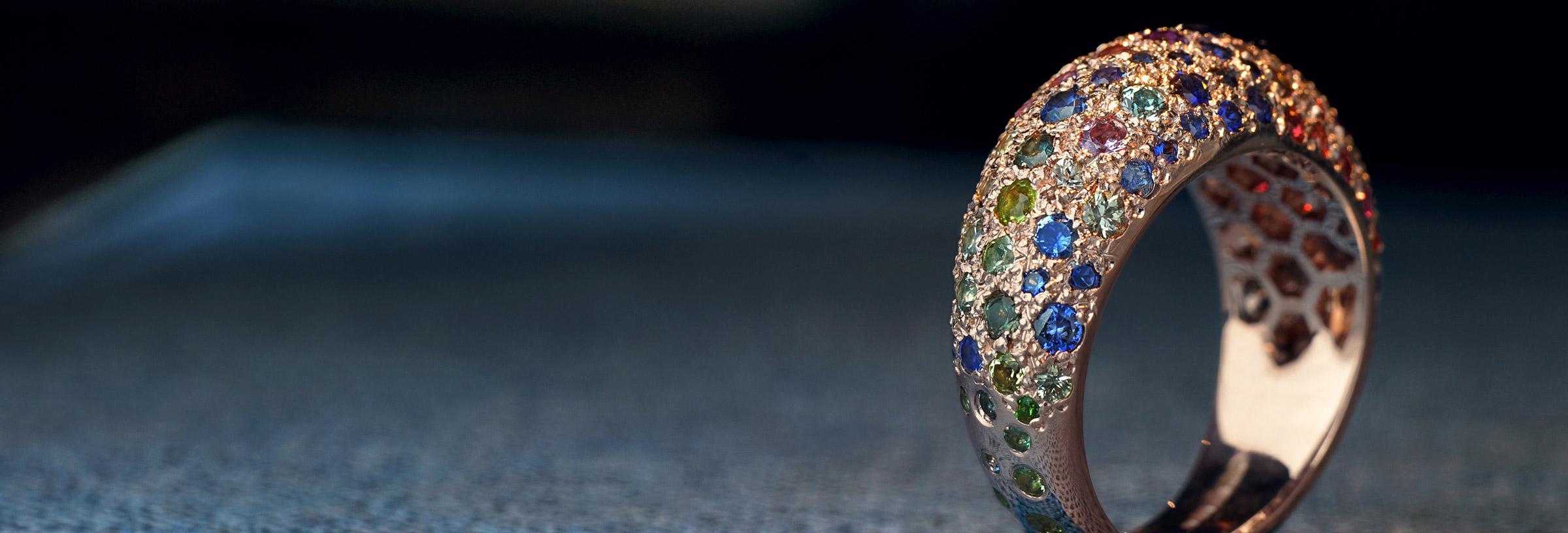 1.9ct Sapphire, Ruby, Tsavorite and rose gold Bombe ring