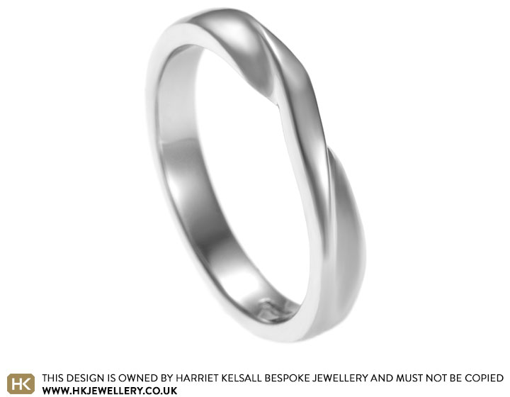 Intricate palladium Mobius twist wedding ring