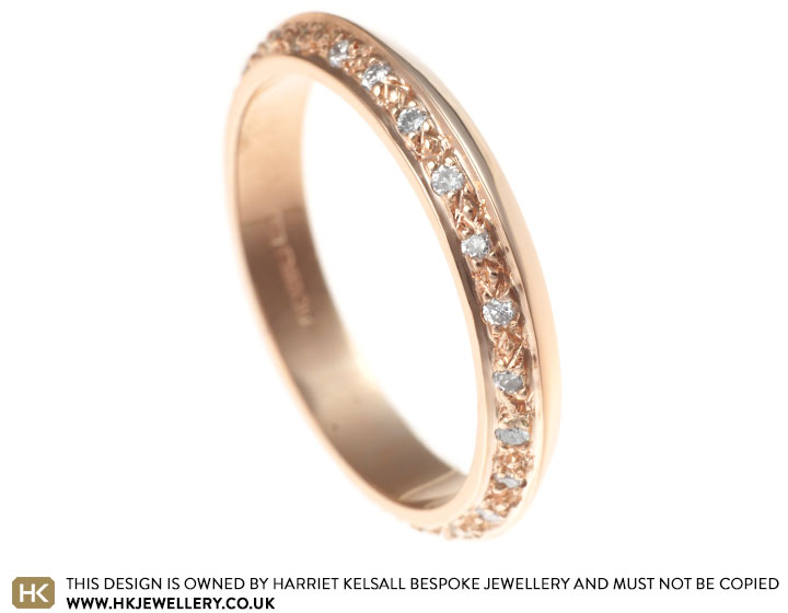 Apex shaped 9 carat rose gold 0 25ct H SI diamond eternity ring