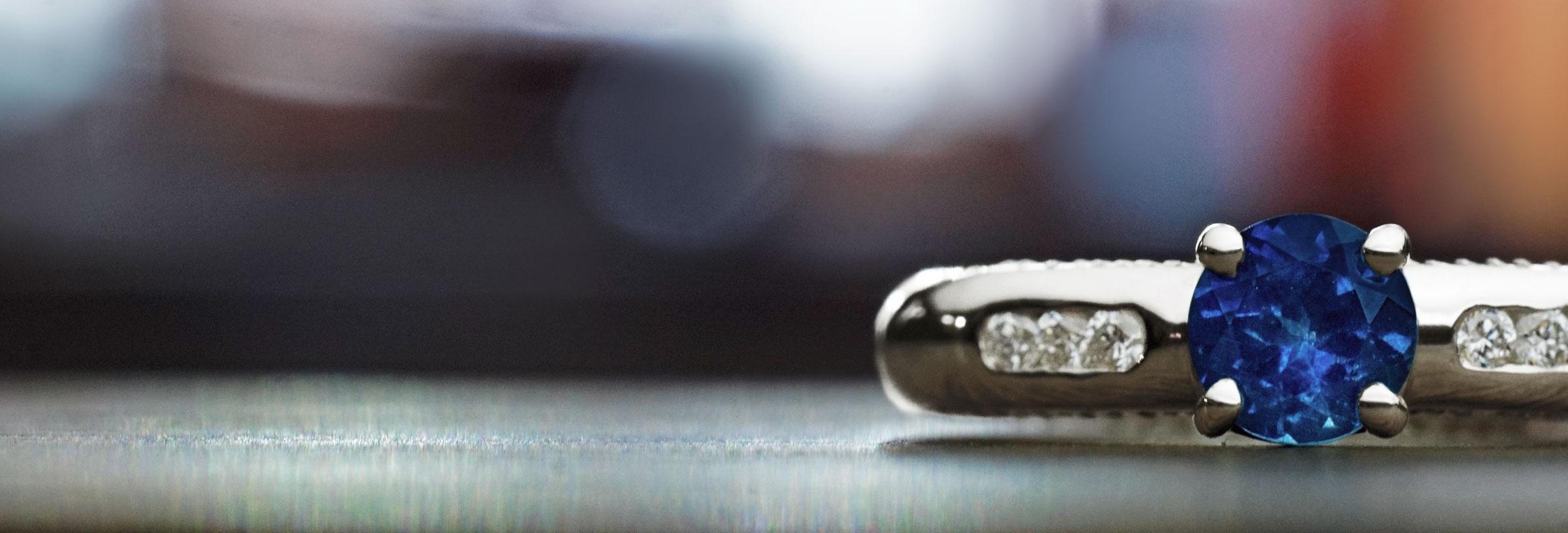 Cornflower blue 0.61ct sapphire, diamond and 9ct white gold engagement ring
