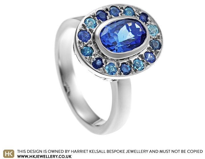 Under the sea inspired platinum ring with 1.85ct oval cut ...