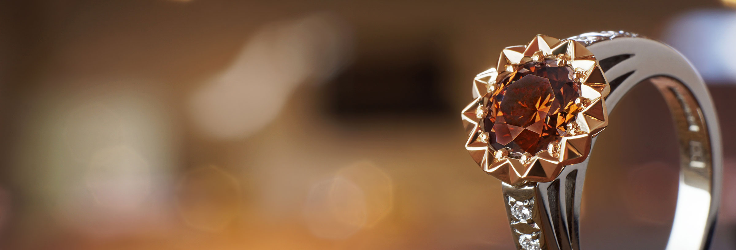 Shooting star inspired 1.34ct natural chocolate brown diamond, palladium and 9ct rose gold solitaire
