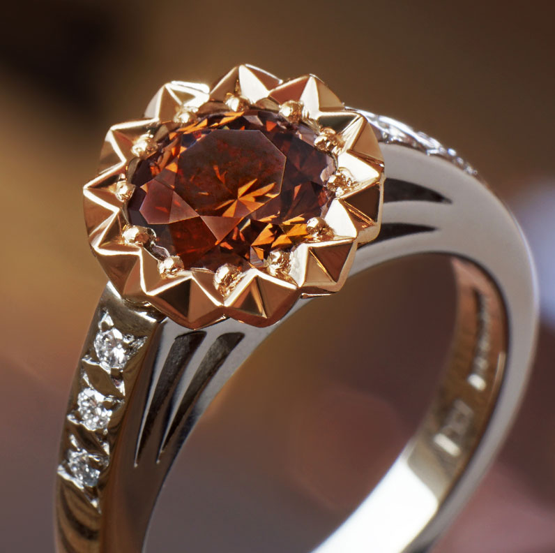 gemstone from brown the products diamond ring rose dia rings brwn