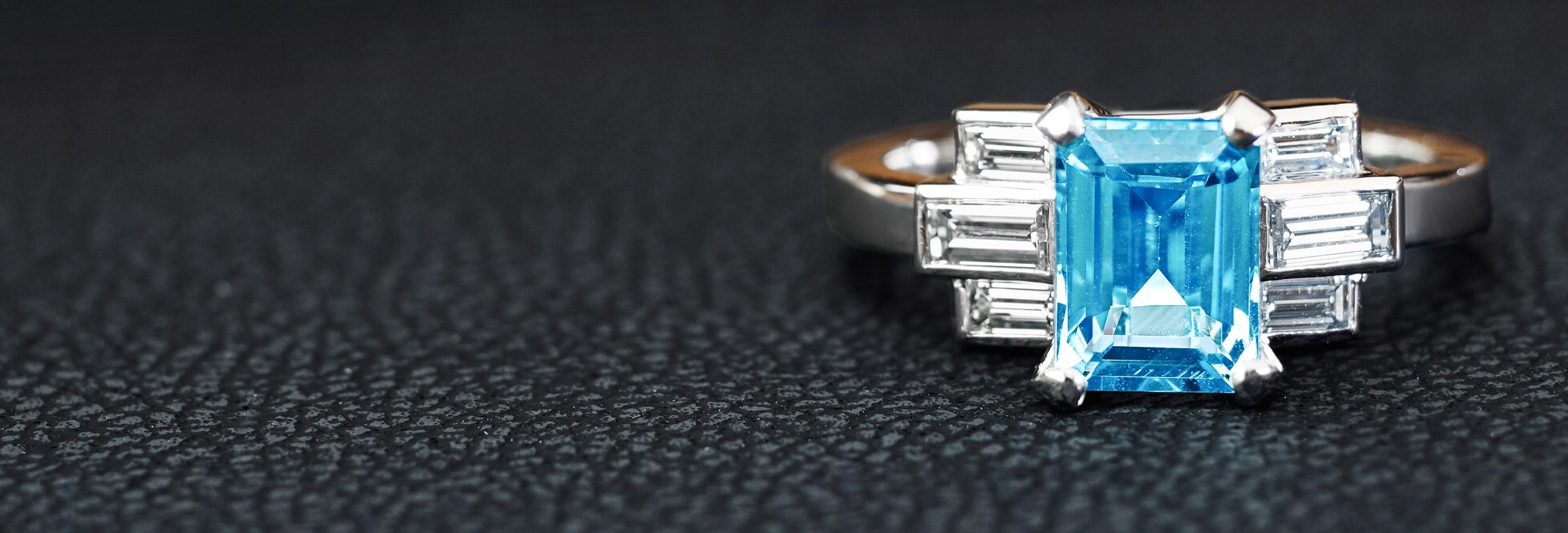 Art Deco inspired 1.45ct aquamarine and 0.50ct diamond ring