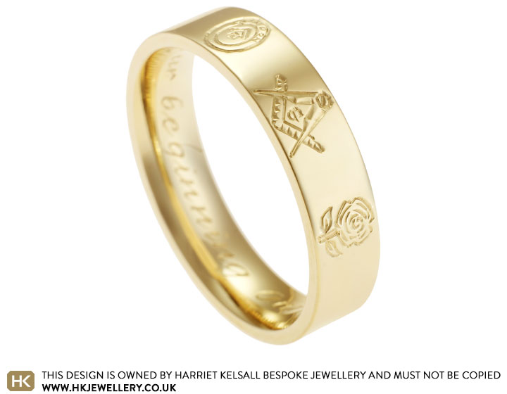 Masonic Symbols Engraved Yellow Gold Bespoke Ring