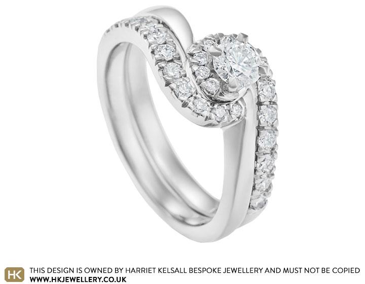051ct diamond and palladium twist engagement and wedding ring set