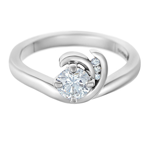 Wave Design Bands: Wave Inspired 0.53ct Diamond And Palladium Engagement Ring