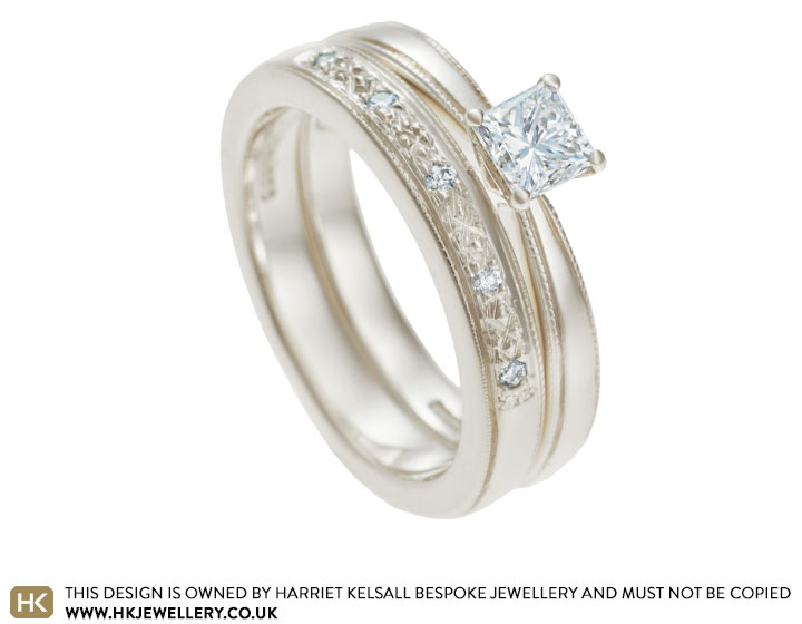 Maries 9ct White Gold Wedding Ring With Grain Set Diamonds