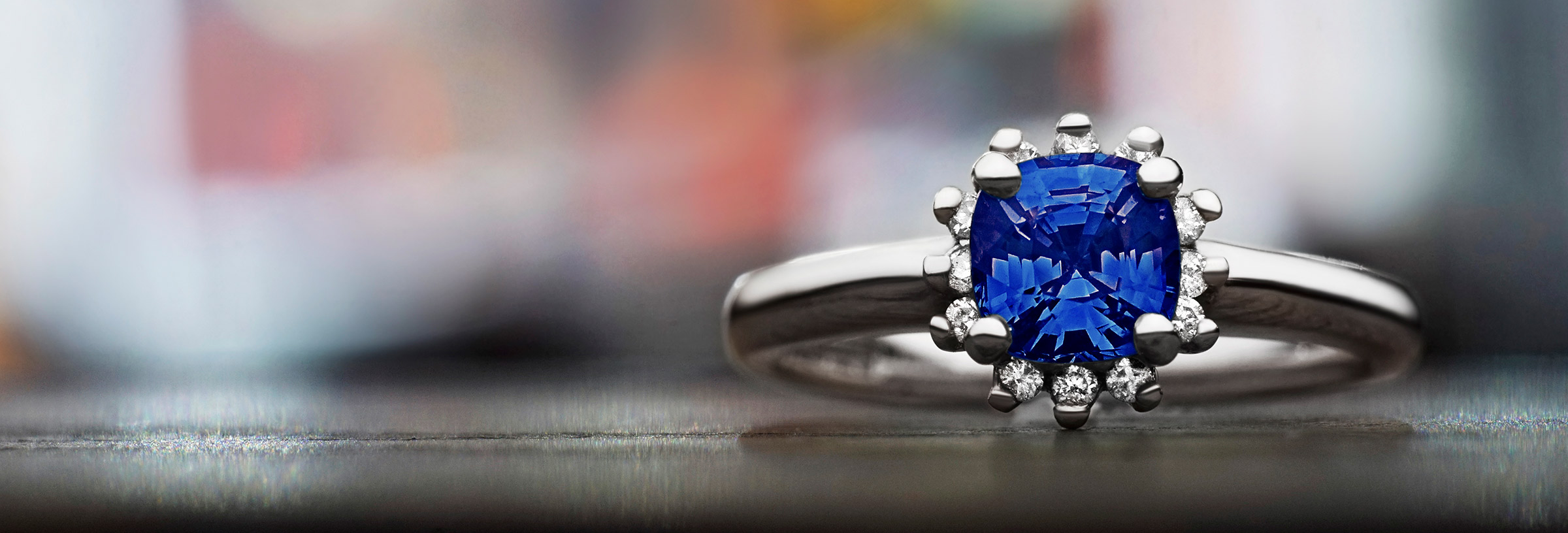 1.09ct cushion cut blue Tanzanite and 9ct white gold engagement ring