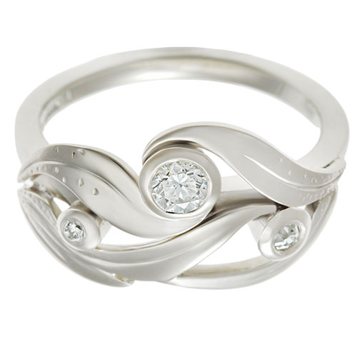 Lily inspired Fairtrade 9 carat white gold and 0 25ct diamond