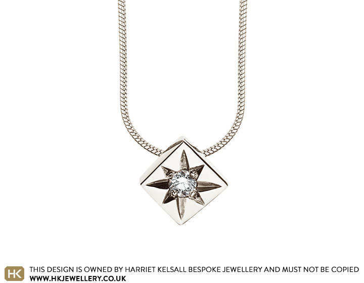 9 carat white gold star pendant with an i pk1 brilliant cut star set 9 carat white gold star pendant with a aloadofball Choice Image