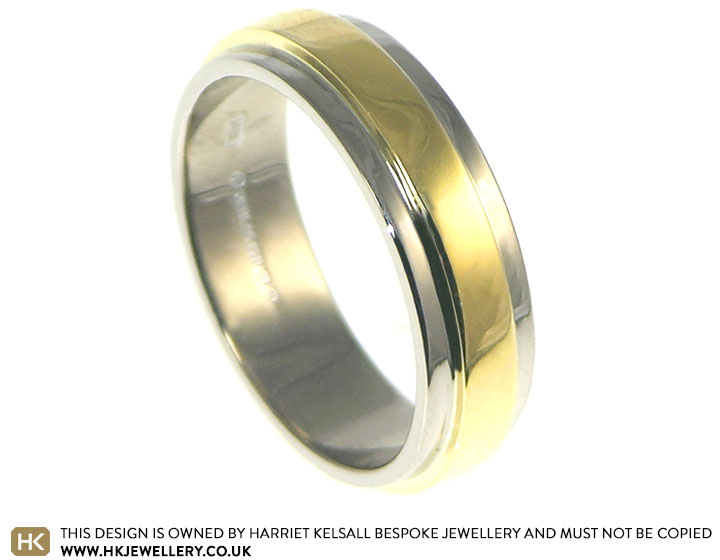 18 carat white and yellow gold wedding ring