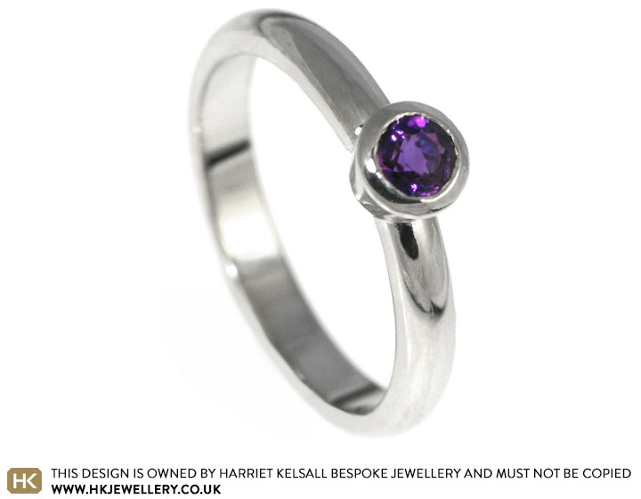 s unique white gold and amethyst engagement ring