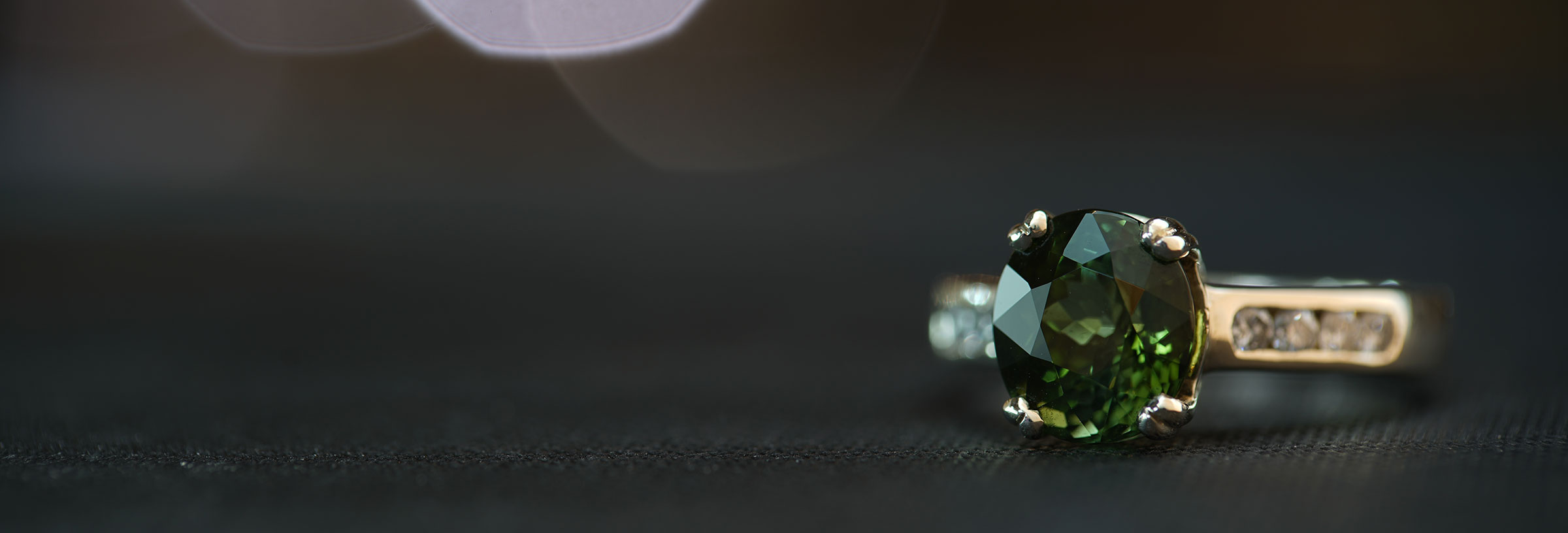 Dramatic 2.64ct green tourmaline, diamond and Fairtrade 9ct white gold engagement ring