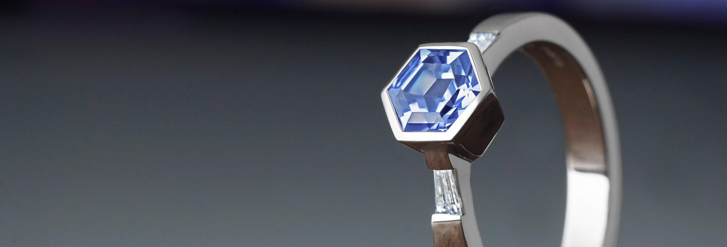 Rare 0.95ct hexagonal blue sapphire, diamond and recycled palladium engagement ring