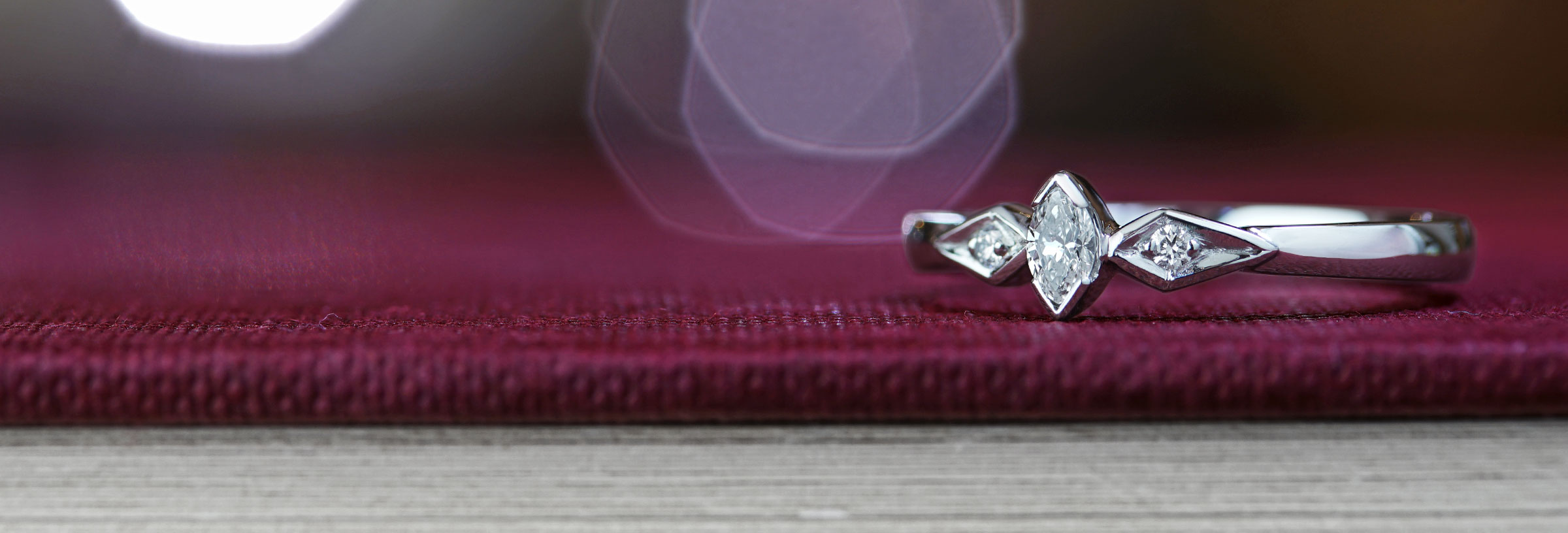 Vintage inspired engagement ring with 0.11ct marquise cut diamond