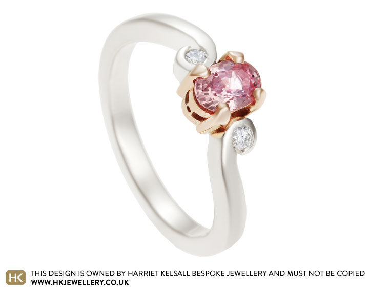 9 carat mixed metal and 0 68ct pink sapphire engagement ring