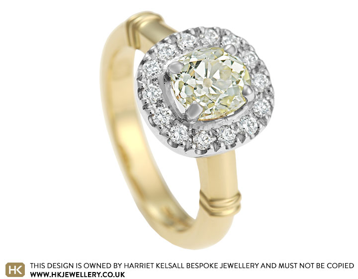 verity s mixed metal and fancy yellow engagement ring