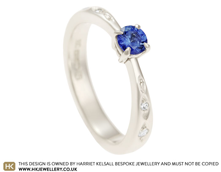 Fairtrade 9 carat white gold and 0 30ct sapphire engagement ring