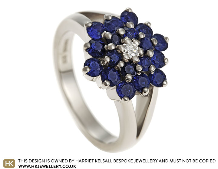 31b06337e Katie's 18ct white gold sapphire and diamond cluster engagement ring.