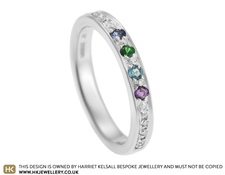 18 carat white gold eternity ring with family birthstones