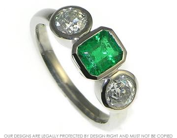 Bespoke palladium emerald and diamond engagement ring specifications aloadofball Gallery